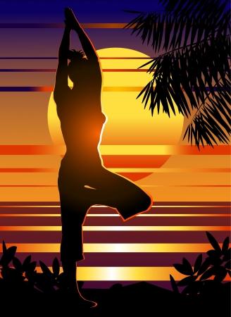 Woman meditating at sunrise on the beach illustration  Vector