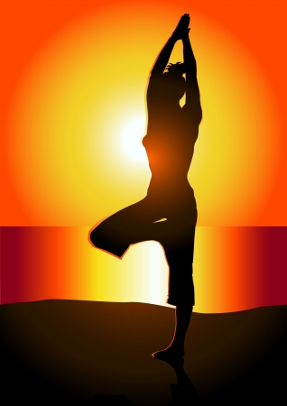 Woman meditating at sunrise on the beach illustration  Vector