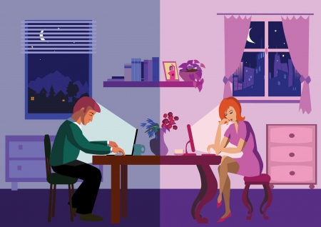 Friends chatting over internet Vector illustration