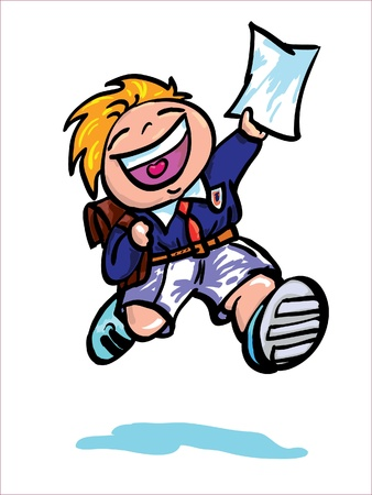 the end:  Happy boy running with school certificate Vector illustration