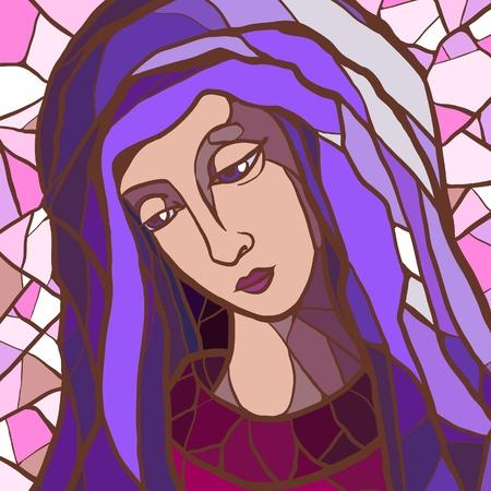 virgen maria: Ilustraci�n vectorial de la Virgen Mar�a en los vitrales