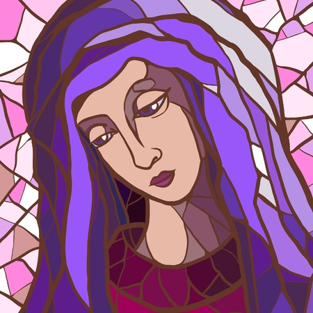 madonna: Vector illustration of Virgin Mary in stained glass