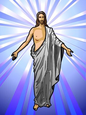 Illustratie van de opgestane Jezus Christus