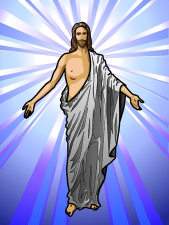 god in heaven: Illustration of the Resurrected Jesus Christ