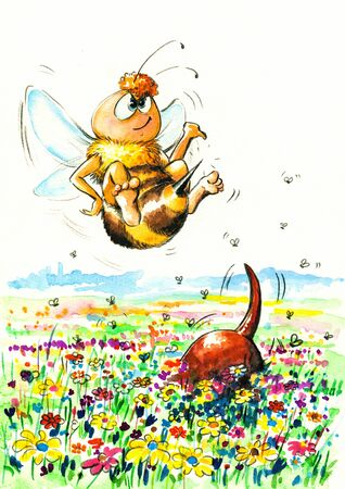 Bee meets a dog on a meadow Picture created with watercolors Stock Photo - 18751936