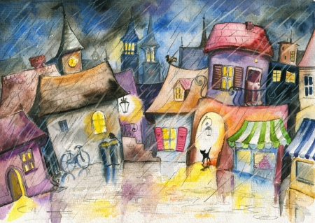 Small town at rain Picture created with watercolors  Stock Photo