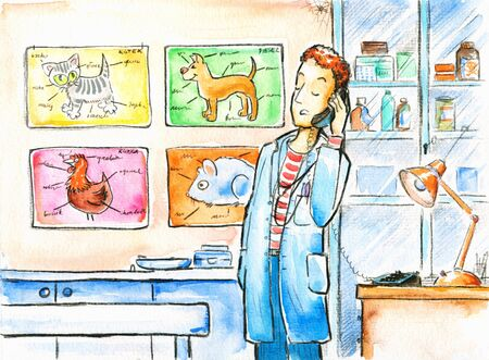 cat call: Veterinarian in the clinic  Picture I have created with watercolors