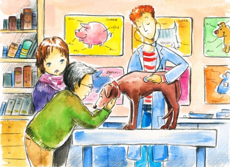 Veterinarian examines a sick dog in the clinic  Picture created with watercolors