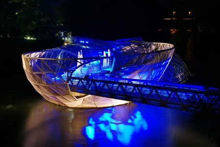 Graz, Austria- artificial floating platform in the middle of the Mur river