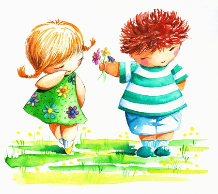 Cute boy giving to a shy girl flowers Picture created with watercolors