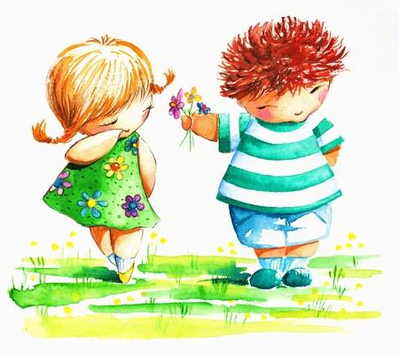 Leuke jongen het geven van een verlegen meisje bloemen Foto gemaakt met waterverf