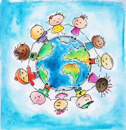 Children of different races hugging the planet Earth  Picture created  with watercolors    Standard-Bild