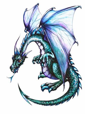Blauwe draak op witte achtergrond Plaatje gemaakt met pen en kleurpotloden