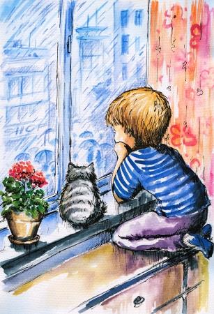 yağmurlu: Suluboya ile oluşturulan yağmurlu bir gün Picture pencereden şehri izlerken küçük çocuk ve kedi Stok Fotoğraf