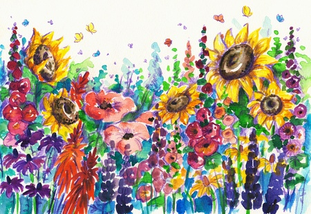 watercolor technique: Summer flowers in garden Picture created with watercolors