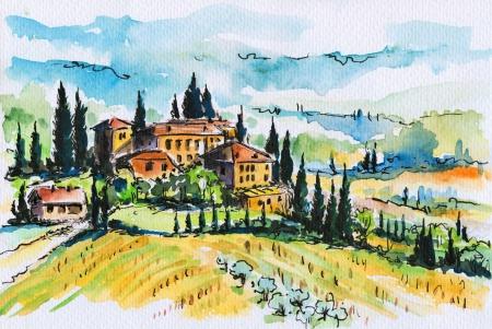 Landschap met stad en cipressen in Toscane, Italië Foto gemaakt met aquarellen Stockfoto