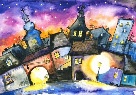 Kleine stad 's nachts Beeld gemaakt met aquarellen