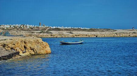 Fishing boats over seashore ,Mahdia in Tunisia  photo