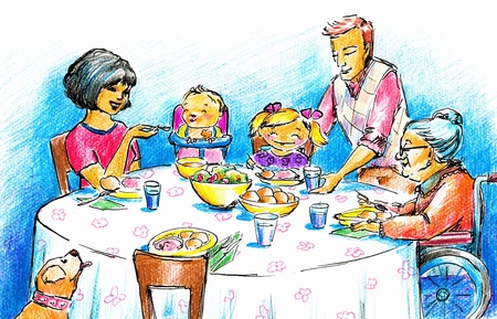 Family having dinner together Picture created with watercolors and crayons  photo