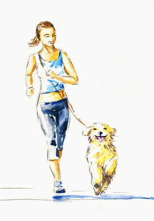 Young woman running with dog Picture created with watercolors