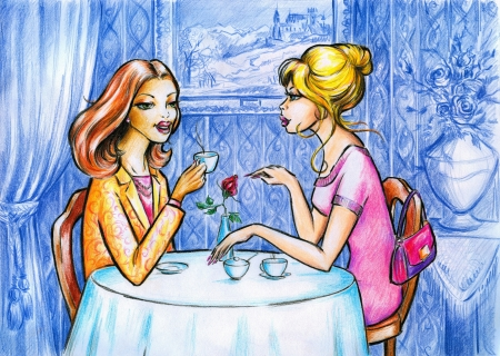 outdoor dining: Two women talking and drinking coffee Picture created  with colored pencils