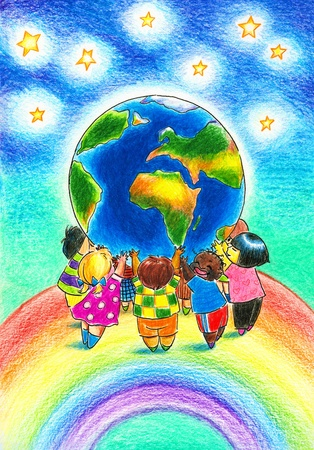 human geography: Group of children different races standing on the rainbow and holding up the Earth Picture created with colored pencils   Stock Photo