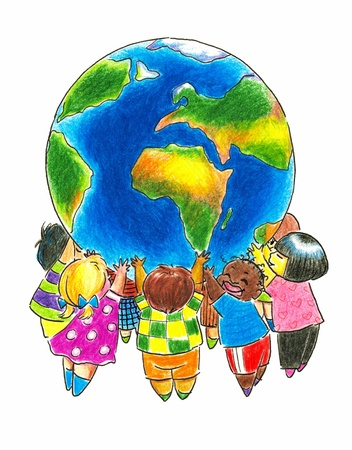 Group of children different races holding up the Earth Picture created with colored pencils