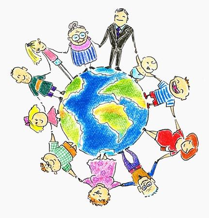 Global de la familia, personas de edad diferente en torno a la tierra de la imagen creada con l�pices de colores Foto de archivo