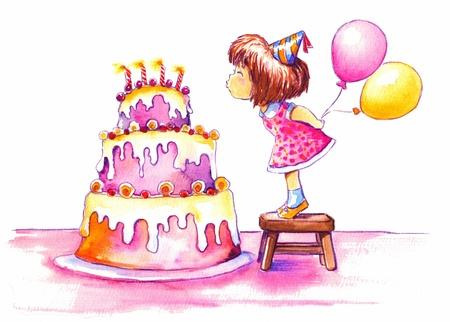 Schattig meisje het uitblazen van de kaarsen van haar enorme verjaardagstaart Foto gemaakt met waterverf