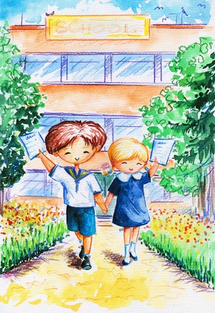 Two proud children with certificates and school in background Picture created with watercolors   photo
