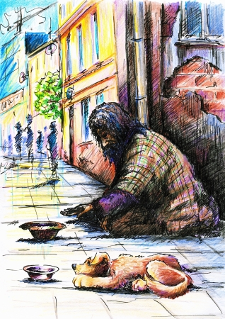lonesome: Beggar with dog on the street  Stock Photo