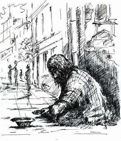 lonesome: Beggar on the street Picture created with pen    Stock Photo
