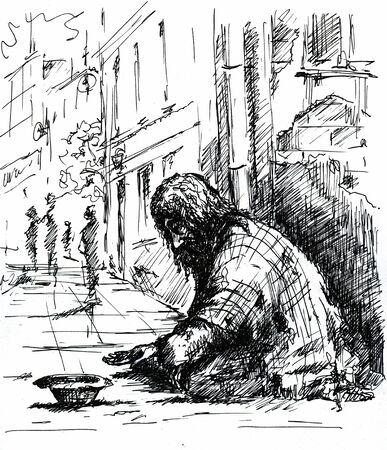 Mendigo en la calle Imagen creada con la pluma Foto de archivo