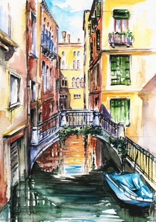 A view to the houses in Venice,and a canal crossed by a bridge watercolor painted  Stock Photo