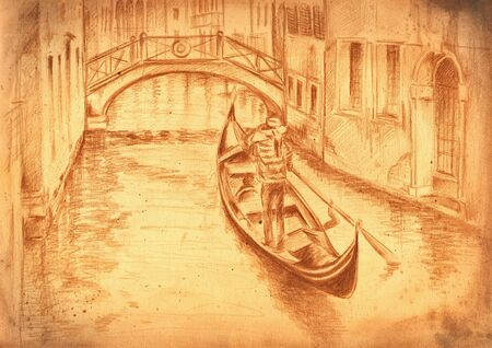 A view to  canal crossed by a bridge and gondola in foreground Picture created by pencil  photo