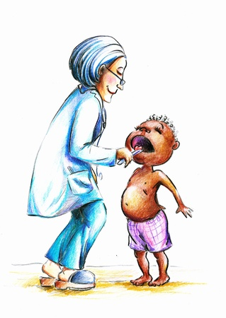 Hand made illustration of female doctor checking little African boy s throat  illustration