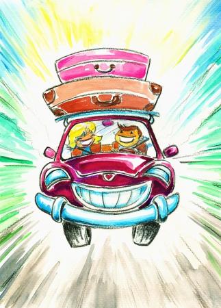Parejas felices en el viaje con la imagen de coche creado con las acuarelas