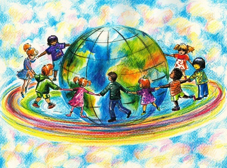 Children of different races running on rainbow around planet Earth