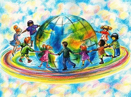 fraternidad: Los ni�os de diferentes razas que se ejecutan en arco iris alrededor de la tierra del planeta
