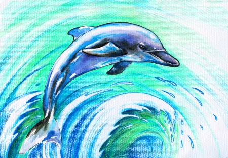 Jumping blue dolphin Picture I have created with watercolors and colored pencils