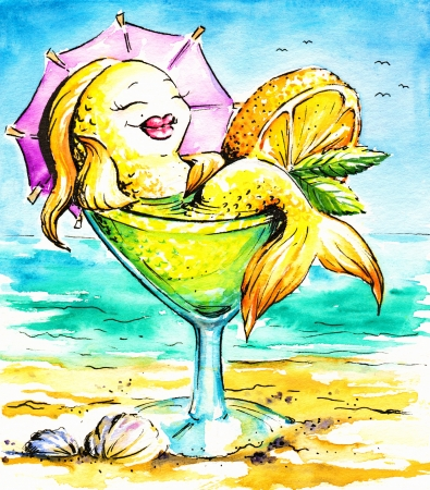 Goldfish enjoying holidays on the beach Picture created with watercolors  photo