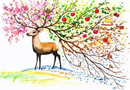Bruine herten met grote, mooie Hoorn in fours seizoenen Beeld gemaakt met aquarellen