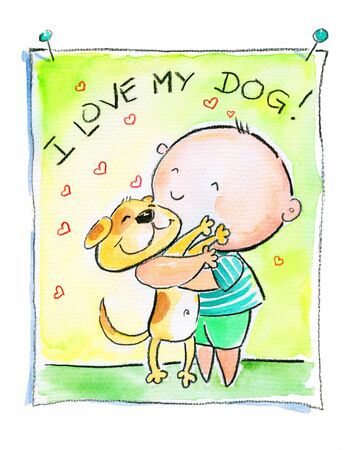 Illustration of small boy hugging his dog Picture created with watercolors   illustration