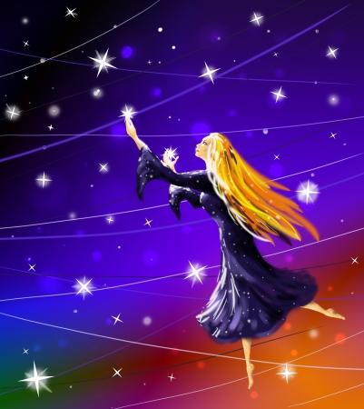 Noche de estrellas que cuelgan en la ilustraci�n digital sky
