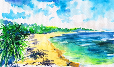 Hand painted tropical beach with green palm trees on white sand under blue sky  photo