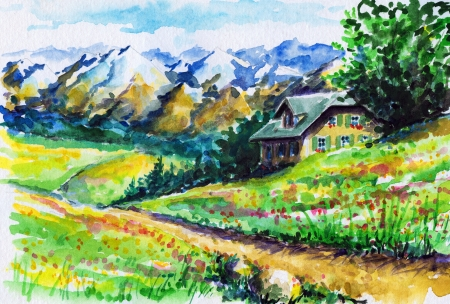 Landscape with alpine house ,fields and mountains in background Picture created with watercolors