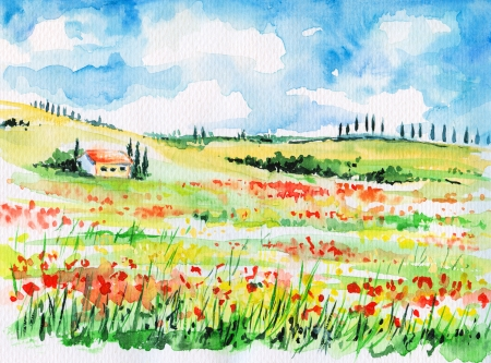 Landscape with cypress trees on colorful flowered field in Tuscany, Italy
