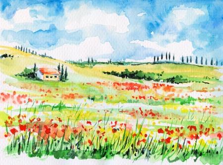 Paisaje con cipreses en colorido campo de flores en la Toscana, Italia