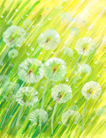 Nature background with dandelions Picture created with watercolors  photo
