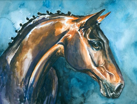 light brown horse: Hand painted portrait of horse Picture created with watercolors